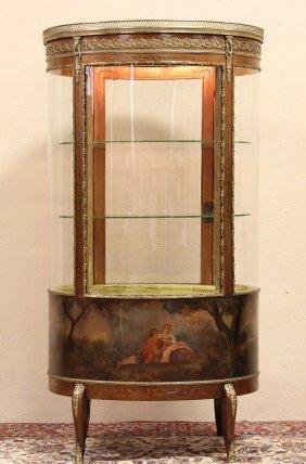 Vernis Martin 1890 Oval Curved Glass Vitrine Or Curio