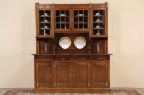 English Arts & Crafts 1900 Antique Mahogany Back Bar