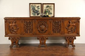 Italian Vintage Console Credenza, Carved Horses, Faces