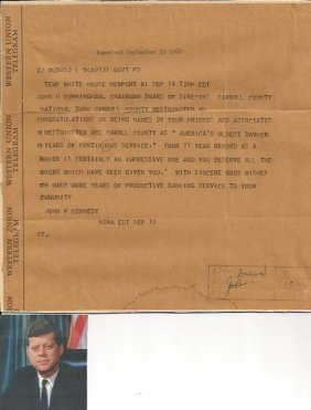 Jfk Archive Includes Autograph Note Signed From Senator