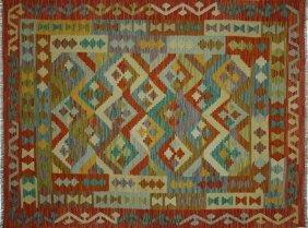 Wool & Wool Oriental Kilim 5x7 Reversible Flat Weave