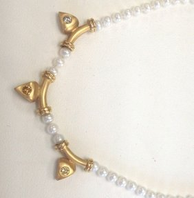 Pearl And Diamond Necklace 18kt Gold