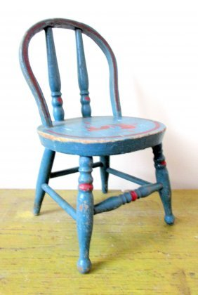 Painted Miniature Doll Chair