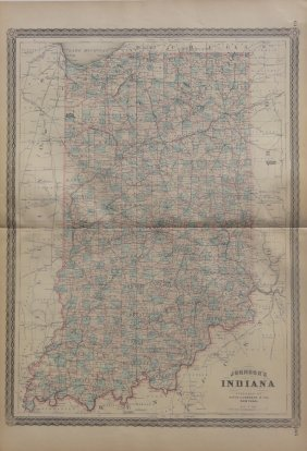 Map Of Indiana, 1868