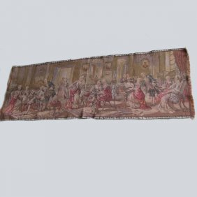 Antique French Parlor Game Tapestry