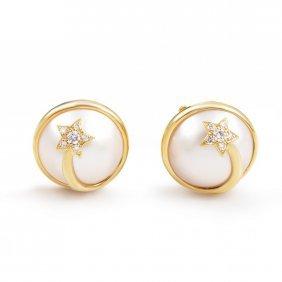 Chanel Comete 18k Yellow Gold Diamond & Pearl Clip-on