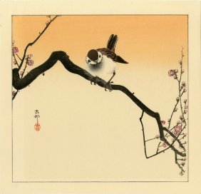 Koson Ohara - Sparrow On A Flowering Branch - 1930s
