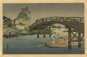 Eisen Keisai - Riverboat Under A Bridge In Rain - 1930