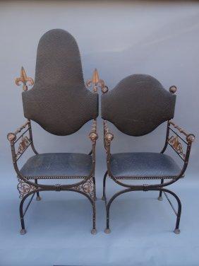 Spanish Revival Oscar Bach Style Throne Chairs F627