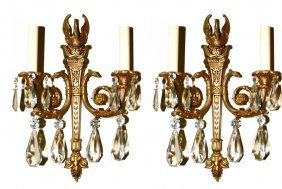 Pair Of Empire Style Sconces With Crystals
