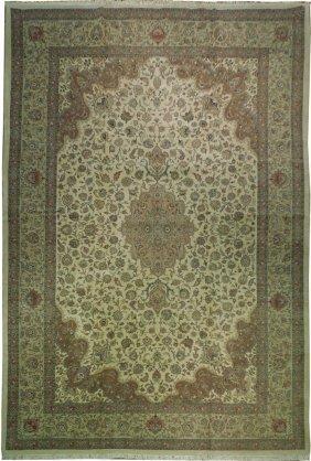 13x19 Handmade Original Persian Tabriz Rug Ivory Wool