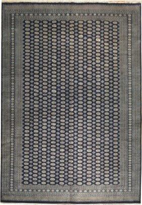 12x18 Handmade All-over Mori Bokhara Rug Navy Blue Wool