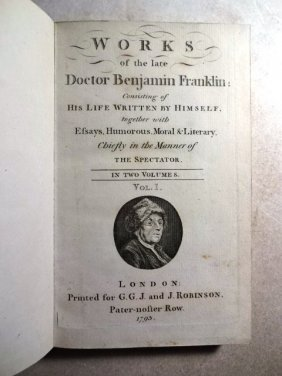 1793 Works Of The Late Doctor Benjaim Franklin Two-vol