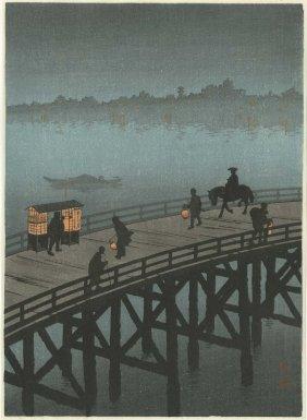 Hiroshige - Ohashi Bridge At Night 1930s