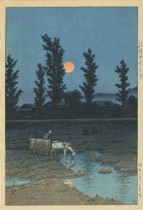 Hasui Kawase - Evening Moon At Nakanoshima Park,