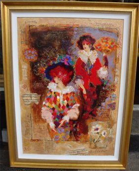 Lrg Framed Mixed Media Painting Alexander Wissotzky