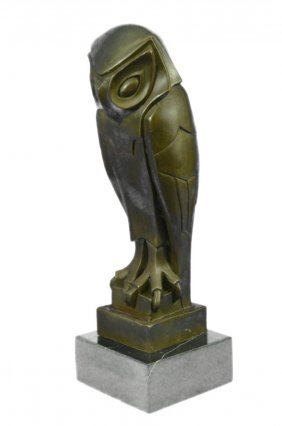 Art Deco Owl Bronze Statue On Marble Base
