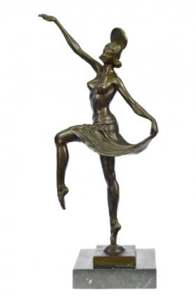 Antique Look 100% Solid Bronze Sculpture On Marble Base