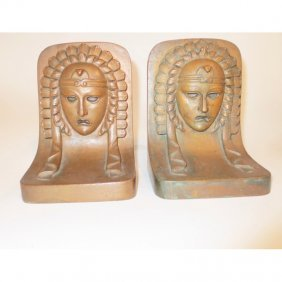 Pair Of Copper Clad Bookends Deco Period