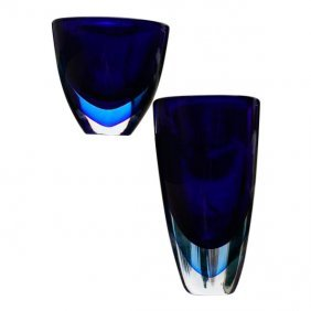 Pair Of Stunning Sculpture-vase By Renowned Murano
