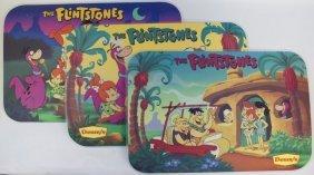 Vintage Complete Set Of 3 Denny's The Flintstones Vinyl