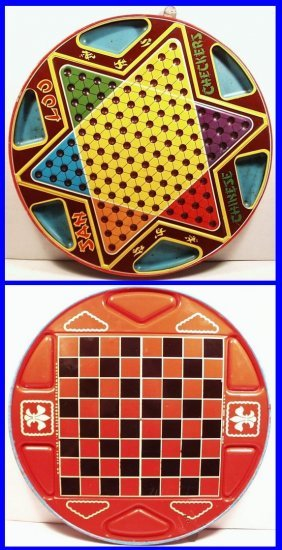 Vintage 1953 2-sided Tin Lithographed Chinese Checkers