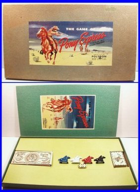 Vintage 1947 Pony Express Board Game, Polygon Corp,