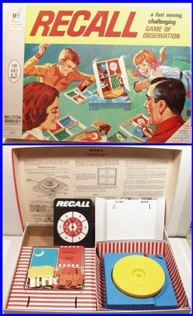 Vintage 1968 Recall Board Game, Game Of Observation, By