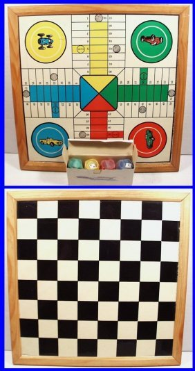 Vintage 2-sided Checkers & Race Car Game Board With