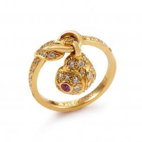 Dior 18k Yellow Gold Ladybug Charm Ring