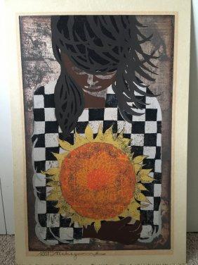 Holding A Sunflower By Tadashi Nakayama