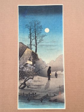 Moon At Old Country House By Hiroaki Takahashi ( Shotei