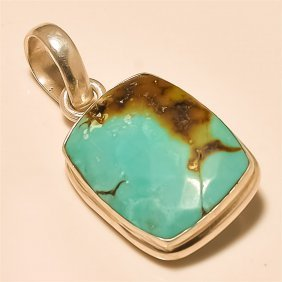 Tibetan Turquoise Pendant Solid Sterling Silver
