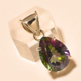 Mystic Topaz Pendant Solid Sterling Silver