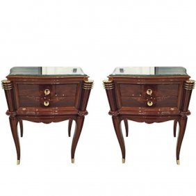Jules Leleu Style Night Stands French Art Deco