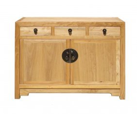 Chinese Fine Finish Raw Wood Console Side Table Cabinet