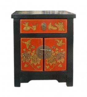 Chinese Black Red Golden End Table Nightstand