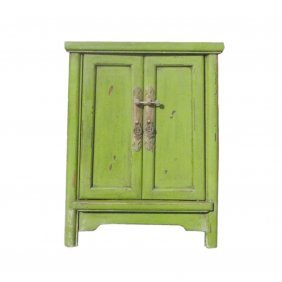Chinese Light Grass Green Minor A Shape End Table