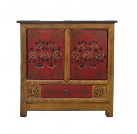 Chinese Yellow Red Floral Graphic Side Table Cabinet