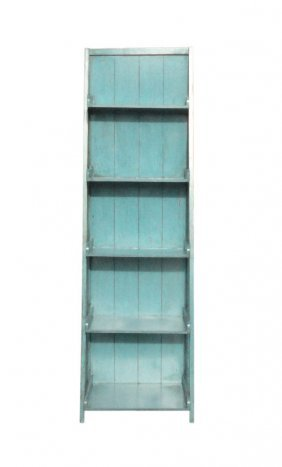 Rustic Light Blue Lacquer Step Ladder Display Cabinet