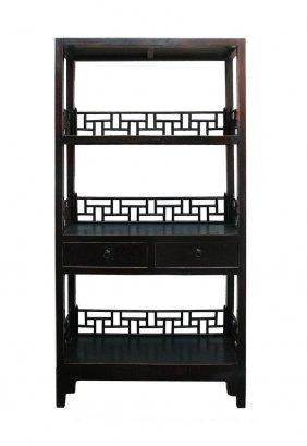 Simple Rustic Black Brown Lacquer Display Bookshelf