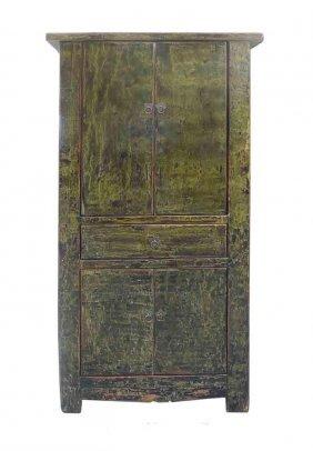 Unique Rustic Dark Green Lacquer Wooden Cabinet Jz405s