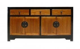 Wood Brown Black Console Buffet Sideboard Table Cabinet