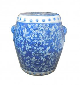 Chinese Blue & White Porcelain Butterflies Round Stool