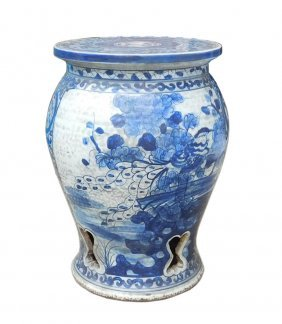 Chinese Blue & White Porcelain Scenery Round Stool