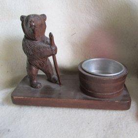 German Black Forest Carved Bear Tray, Vanity Or Desk