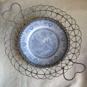 19thc Blue Willow, Flow Blue Wire Ware Bread Basket