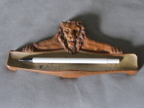 Antique Figural Lion Pen Tray, Original Paint