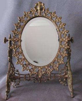 Antique French Fleur De Lis Vanity, Dressing Mirror