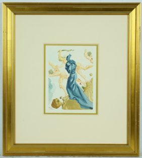 "Salvador Dali "" Divine Comedy"" Woodcut. Signed In The"